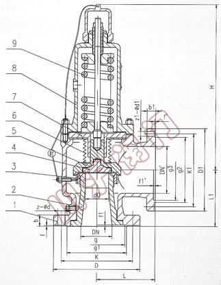wa42y波纹管平衡式安全阀,结构图图片