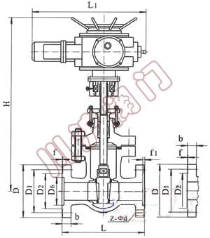 Z941电动闸阀,结构图