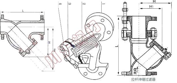 Y型过滤器是输送介质的管道系列不可缺少的一种装置,通常安装在减压阀、泄压阀、定水位阀或其它设备的进口端,用来消除介质中的杂质,以保护阀门及设备的正常使用。该过滤器具有结构先进,阻力小,排污方便等特点。适用介质可为水,油、气。可按用户要求制作滤网,其外型基本相同(Y型),内部件全部采用不锈钢,坚固耐用。当需要清洗时,只要将可拆卸的滤筒取出,去除滤出的杂质后,重新装入即可,使用维护极为方便。该过滤器体形小、滤眼细、阻力小、效果高、安装检修方便、成本低、并排污时间短,对一般小型号者,只需5-10分钟。 一般通水