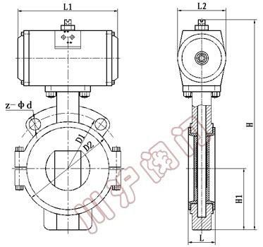 d671f46气动衬氟蝶阀 结构图