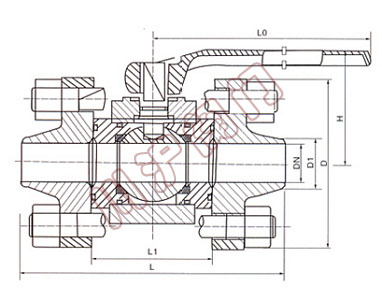 q61h焊接球阀 结构图