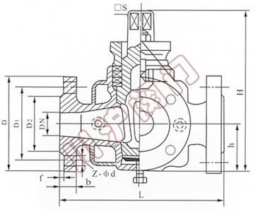 三通保温旋塞阀,结构图